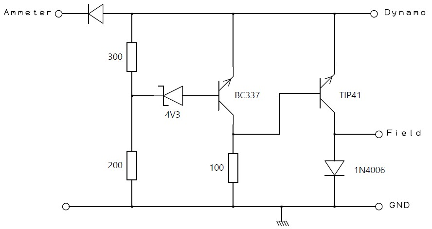circuit diagram of a cheap and nasty dynamo regulator